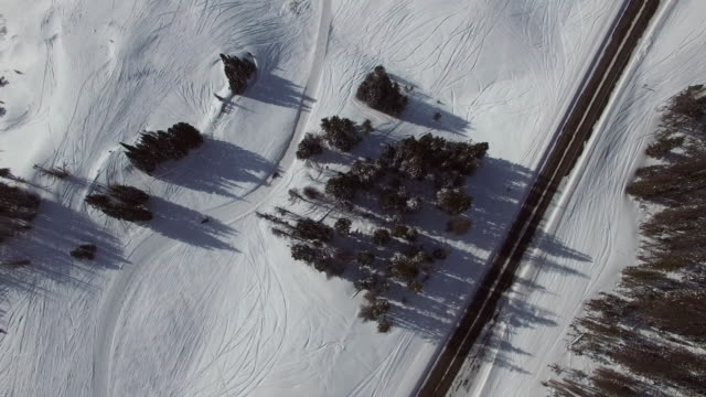 aerial view of jet skis moving amidst trees by highway, top view of road during winter - jackson, wyoming - wyoming stock videos & royalty-free footage