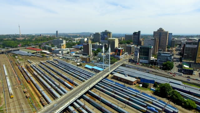 Aerial view of Johannesburg CBD and trains, Johannesburg, South Africa