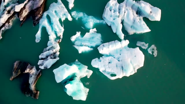 Aerial view of Jokulsarlon glacier lagoon in the morning at Iceland