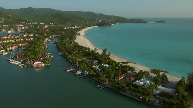 aerial view of jolly beach in antigua - caribbean sea stock videos and b-roll footage