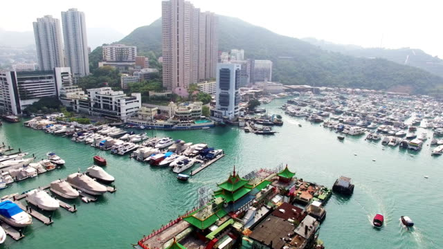 Aerial View of  Jumbo Floating Restaurant and Yacht at Shum Wan Harbor