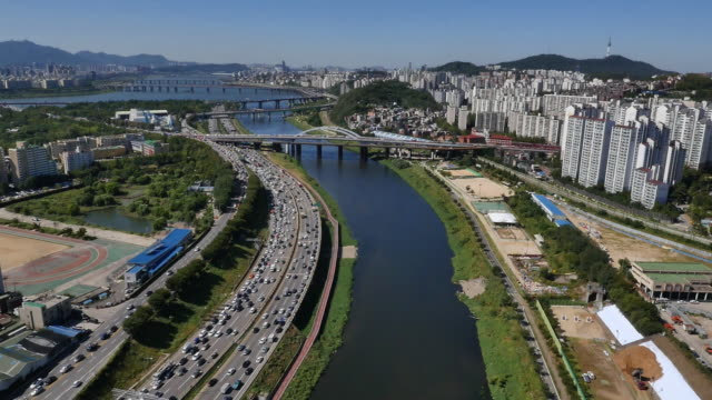 aerial view of jungnangcheon river area - seoul stock videos & royalty-free footage