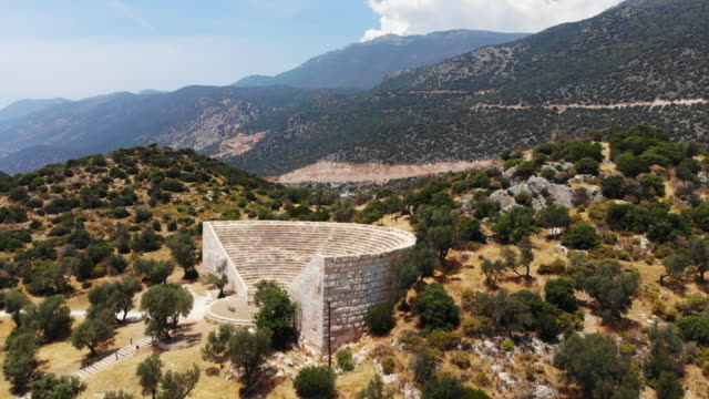 aerial view of kaş, antalya - amphitheatre stock videos & royalty-free footage