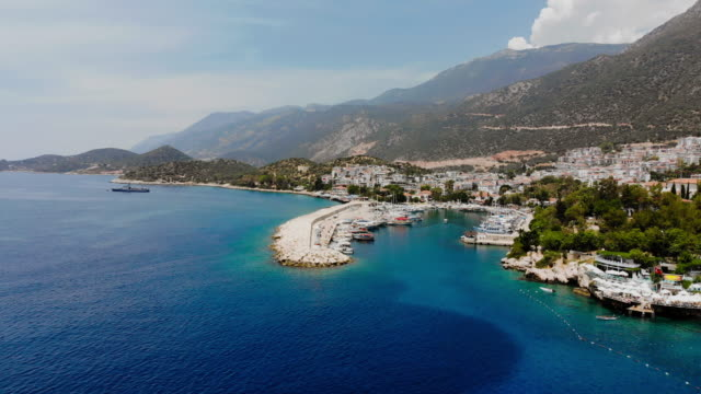 aerial view of kaş, antalya - turchia video stock e b–roll