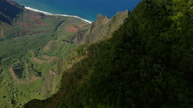 aerial view of kalalau valley between steep coastal mountains in na pali coast state park on the hawaiian island of kauai. - na pali coast state park stock videos & royalty-free footage
