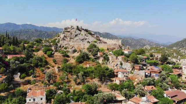 aerial view of kaleköy - kaş, antalya, turkey - old ruin stock videos & royalty-free footage