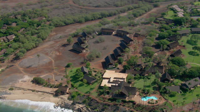 Aerial view of Kaluakoi Villas resort on the coast of Molokai, Hawaii.