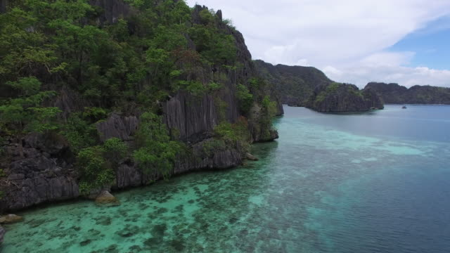 Aerial (drone) view of karst topography and blue lagoons