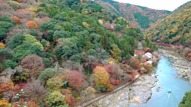 aerial view of katsura river in autumn season from arashiyama viewpoint, kyoto japan - river stock videos & royalty-free footage