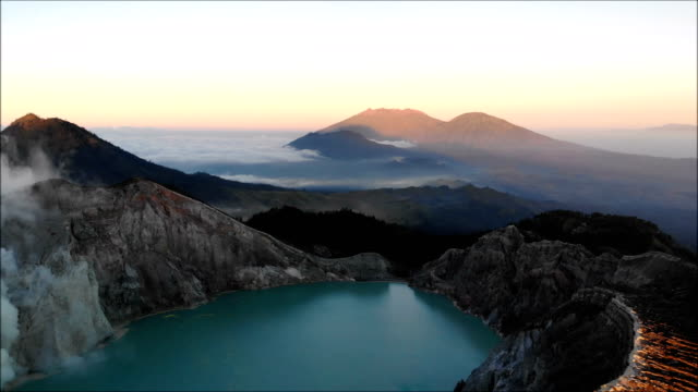Aerial view of Kawah Ijen crater in East Java, Indonesia
