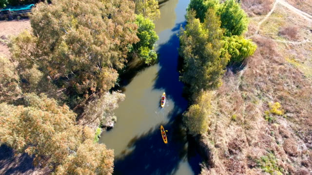 Aerial view of kayakers on Klip River, Johannesburg, South Africa