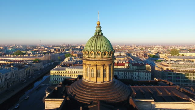 aerial view of kazansky cathedral in saint-petersburg - kazan russia stock videos and b-roll footage
