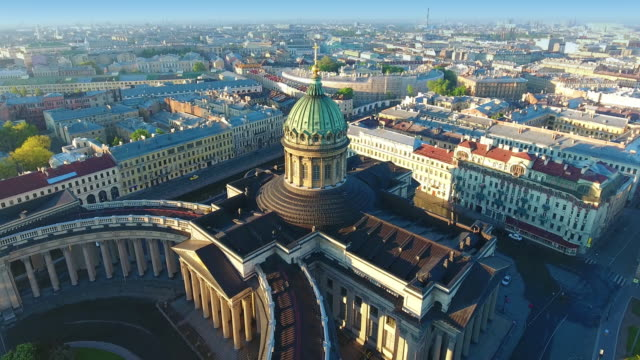 aerial view of kazansky cathedral in saint-petersburg - st. petersburg russia stock videos & royalty-free footage