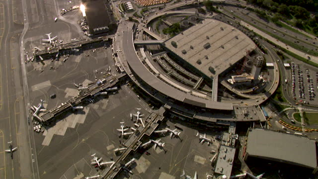 aerial view of kennedy airport, new york, usa - airport stock videos & royalty-free footage