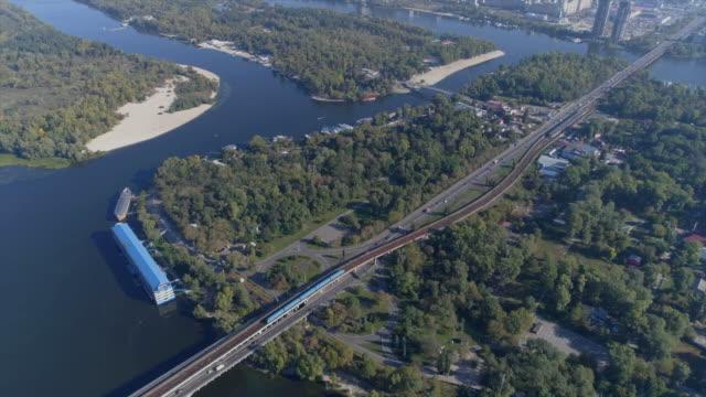 09/28/2017. aerial view of kiev metro bridge. - remote location stock videos & royalty-free footage