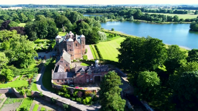 aerial view of kiplin hall - xvii° secolo video stock e b–roll