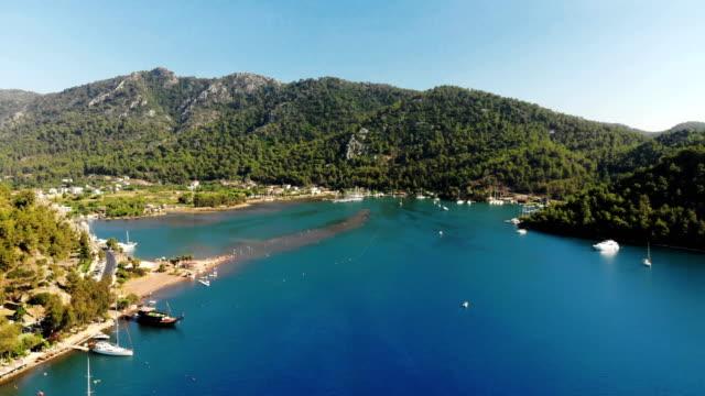 aerial view of kizkumu beach in orhaniye bay - marmaris stock videos & royalty-free footage