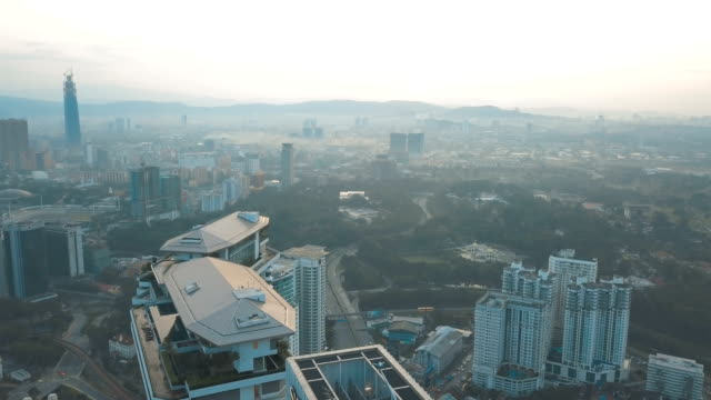 Aerial view of KL sentral and cityscape in Kuala Lumpur at sunlight