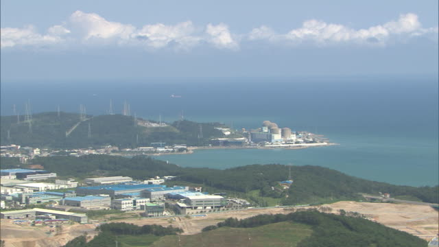 aerial view of kori nuclear power plant - nuclear power station stock videos and b-roll footage