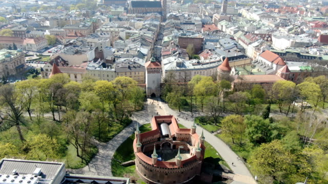 aerial view of krakow barbican - old town stock videos & royalty-free footage