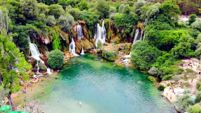 aerial view of kravica waterfall (kravitse) - bosnia and hercegovina, - base camp stock videos and b-roll footage