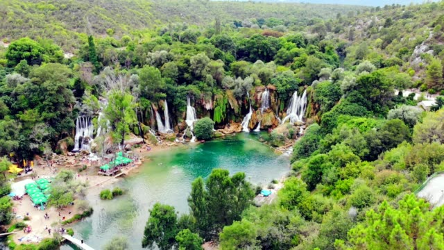 aerial view of kravica waterfall (kravitse) - bosnia and hercegovina, - calcium carbonate stock videos and b-roll footage