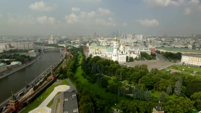 aerial view of kremlin wall with kremlin towers - river moscva stock videos & royalty-free footage