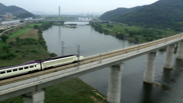 aerial view of ktx high-speed train - high speed train stock videos & royalty-free footage
