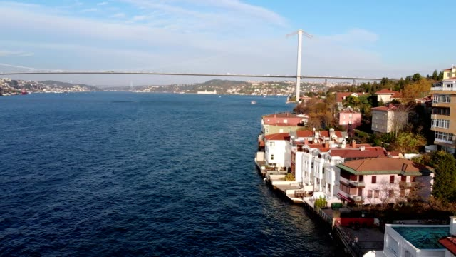 aerial view of kuzguncuk / üsküdar - i̇stanbul - july 15 martyrs' bridge stock videos & royalty-free footage