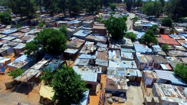 aerial view of kya sands informal settlement, johannesburg, south africa - スラム街点の映像素材/bロール