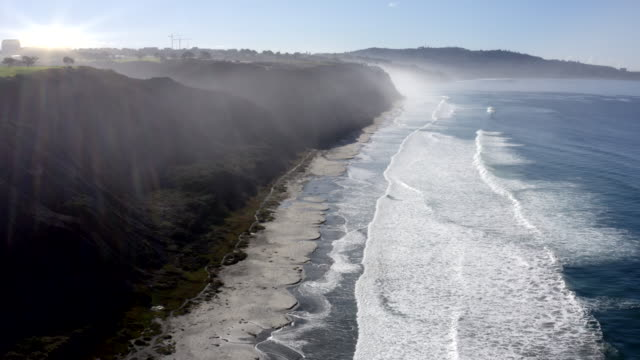aerial view of la jolla coastline, cliffs and beach in san diego, california - hang gliding stock videos & royalty-free footage
