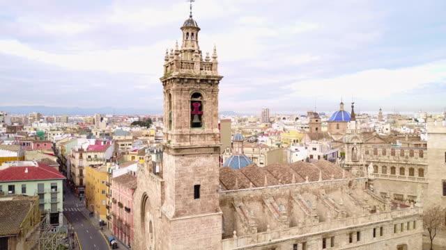 aerial view of la lonja de la seda and the cathedral - seda stock videos & royalty-free footage