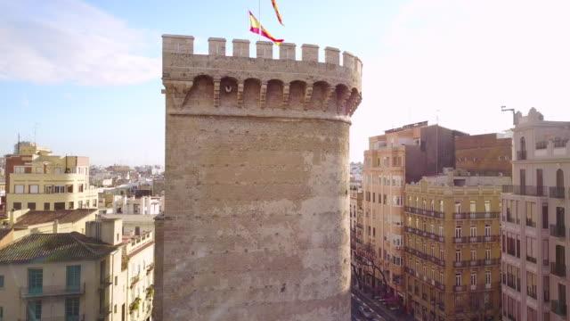aerial view of la lonja de la seda and the flag of valencia - seda stock videos & royalty-free footage