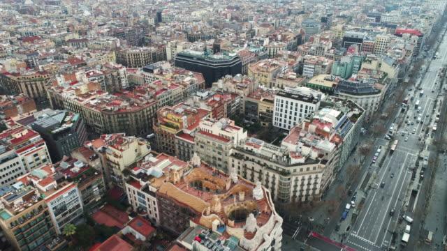 aerial view of la pedrera casa mila - spain stock videos & royalty-free footage