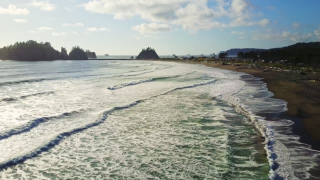 aerial view of la push - oregon coast stock videos & royalty-free footage