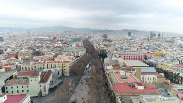 Aerial view of La Rambla street at Catalunya