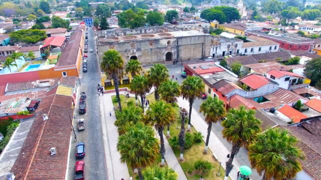 aerial view of la union public park, antigua, guatemala - guatemala stock videos & royalty-free footage
