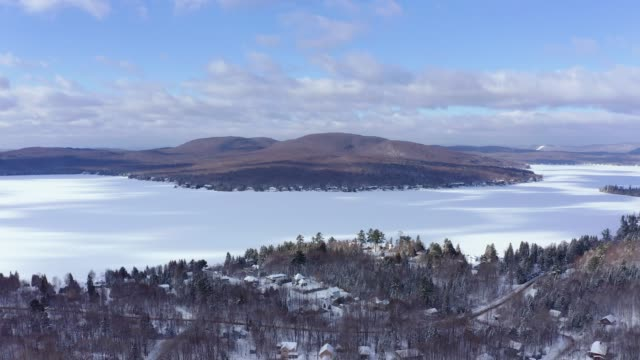 Aerial View of Lac St-Joseph in Winter Season, Quebec, Canada