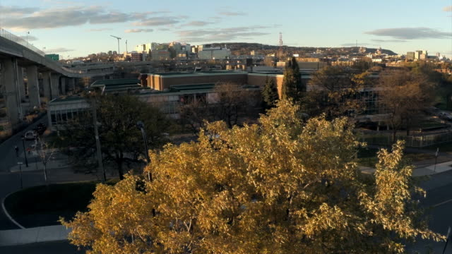 Aerial view of Lachine and Montreal in autumn