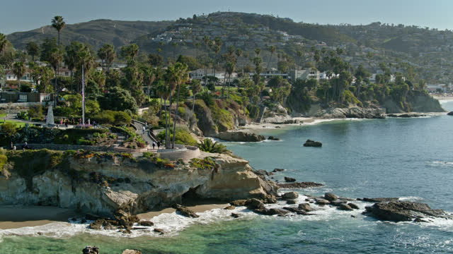aerial view of laguna beach, california from the above the pacific ocean - laguna beach california stock videos & royalty-free footage
