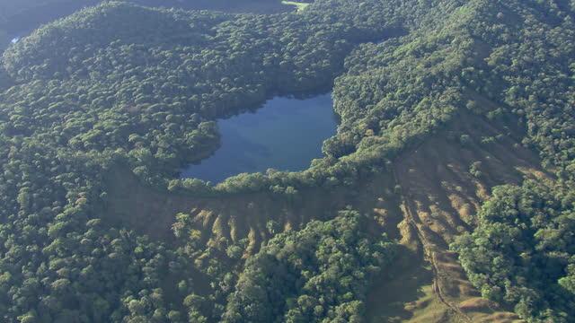 Aerial view of Laguna del Congo in the rainforest in Alajuela Province, Costa Rica.