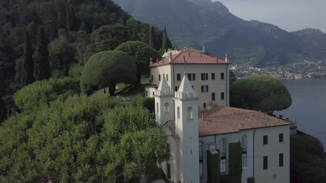 aerial view of lake como, villa del balbianello, italy - stately home stock videos & royalty-free footage
