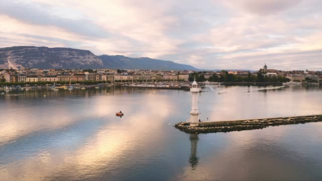aerial view of lake geneva scenes - switzerland stock videos & royalty-free footage