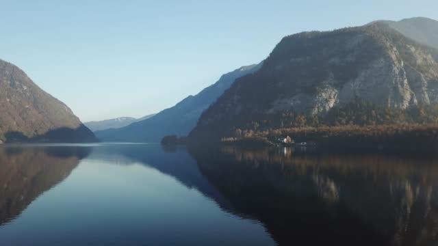 aerial view of lake hallstatt, hallstatt, salzburg, austria - dachstein mountains stock videos and b-roll footage