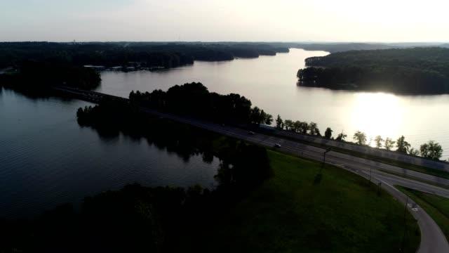 Aerial view of Lake Hartwell Georgia at sunset.