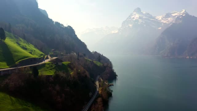 aerial view of lake lucerne in switzerland - lake lucerne stock videos & royalty-free footage
