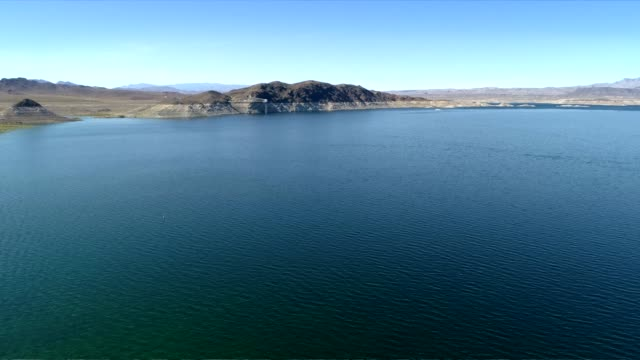 aerial view of lake mead, the colorado river, drone shot. - lake mead video stock e b–roll