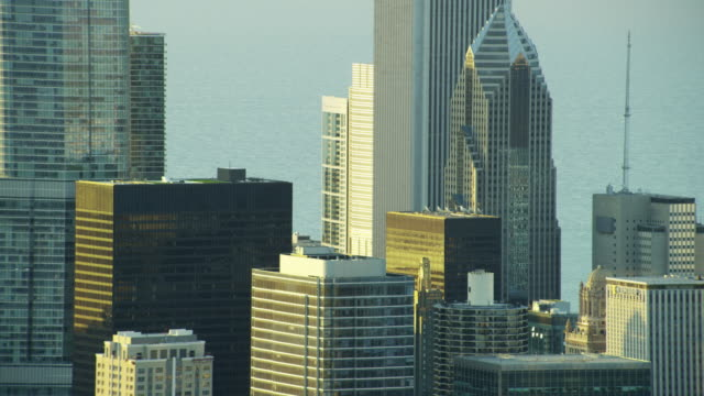 aerial view of lake michigan and chicago city - two prudential plaza stock videos & royalty-free footage