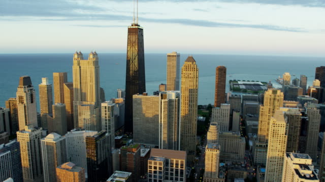 Aerial view of Lake Michigan and Chicago skyscrapers