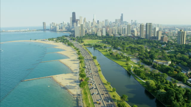 aerial view of lake michigan lakeshore drive chicago - canal stock videos & royalty-free footage